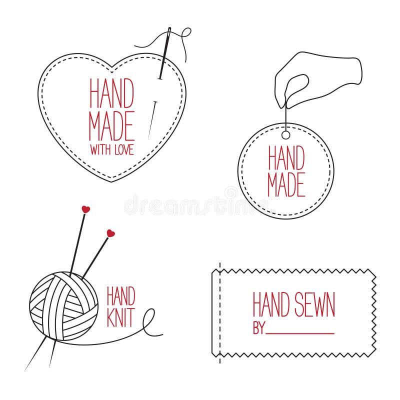 裁缝和被设置的手工制造象征 库存照片