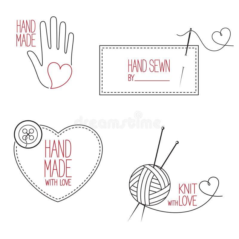 裁缝和被设置的手工制造象征 库存图片