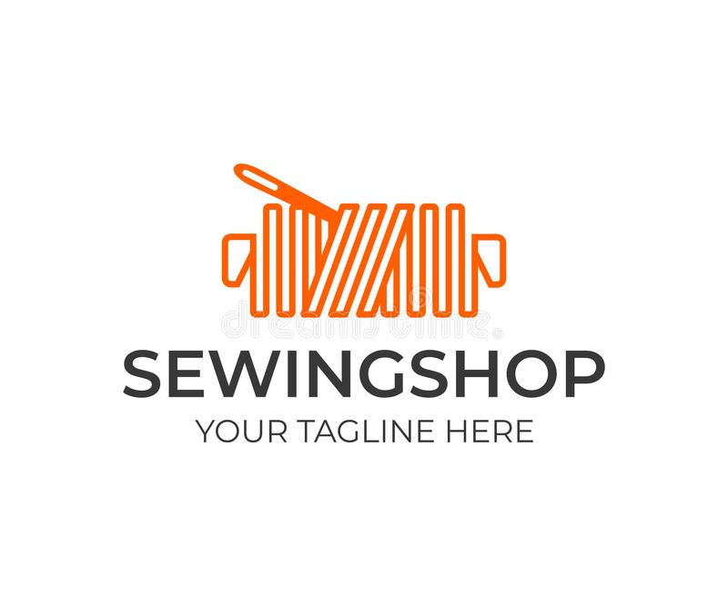 裁缝商店商标设计 与针传染媒介设计的螺纹 库存例证