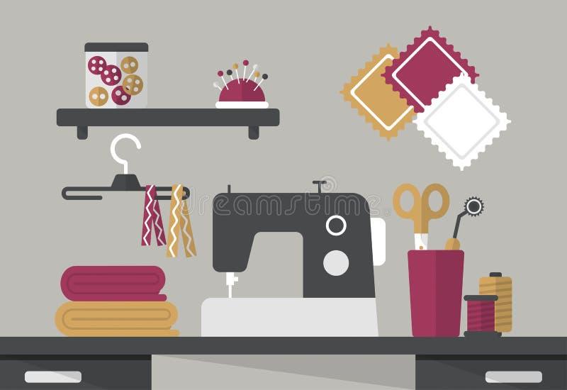 裁缝工作区 缝纫机,织品,螺纹,按钮,线性样式 皇族释放例证