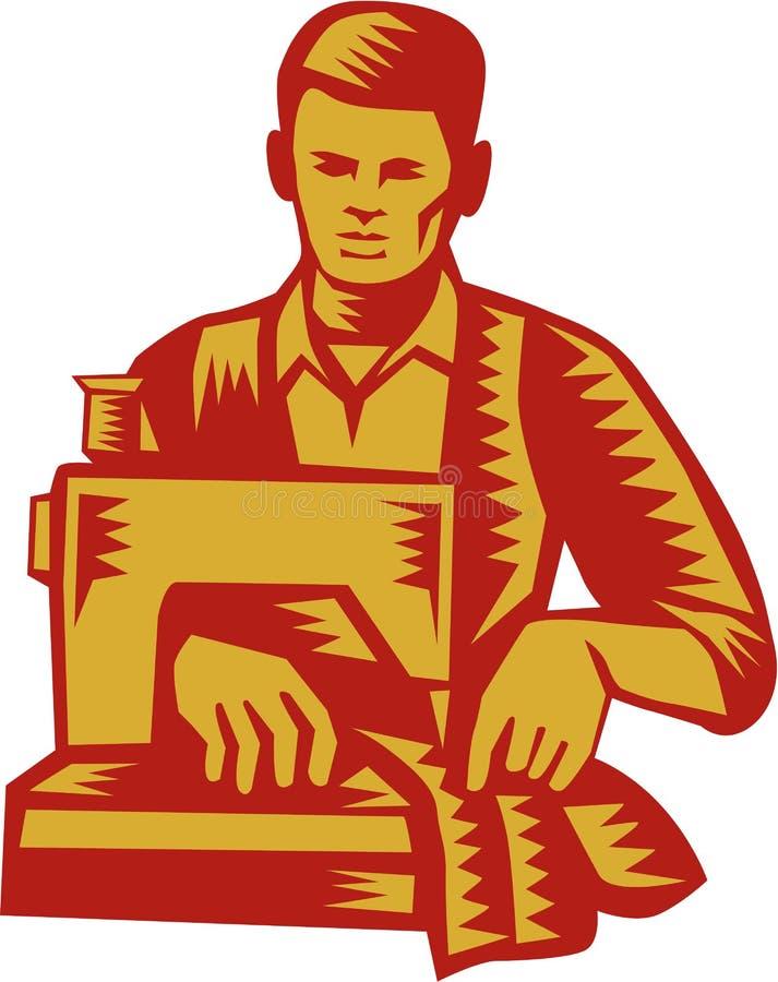 裁缝缝纫机木刻 皇族释放例证