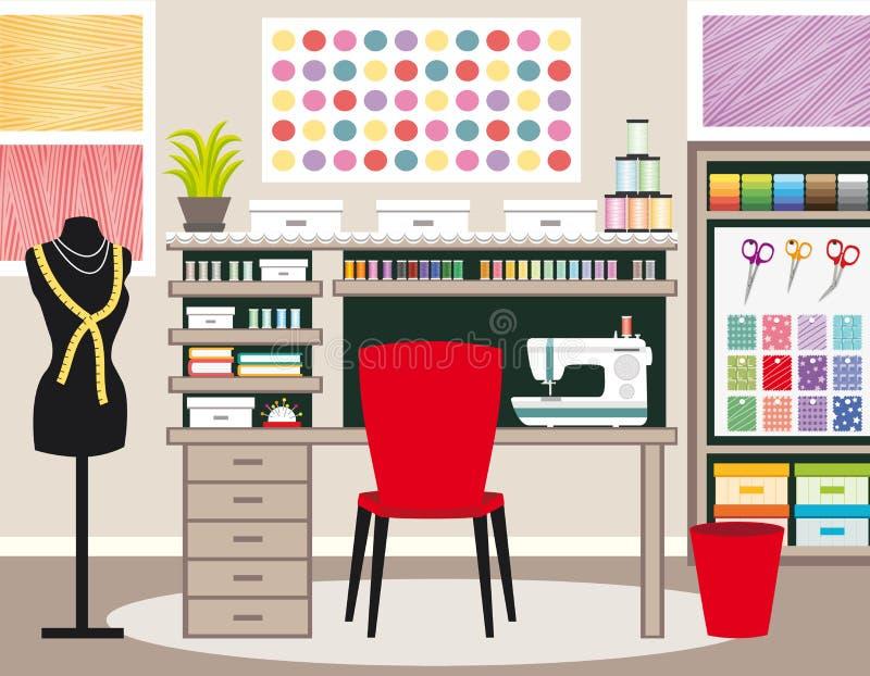 裁缝` s办公室 裁缝工作区 缝合的例证II 绿色口气 库存例证