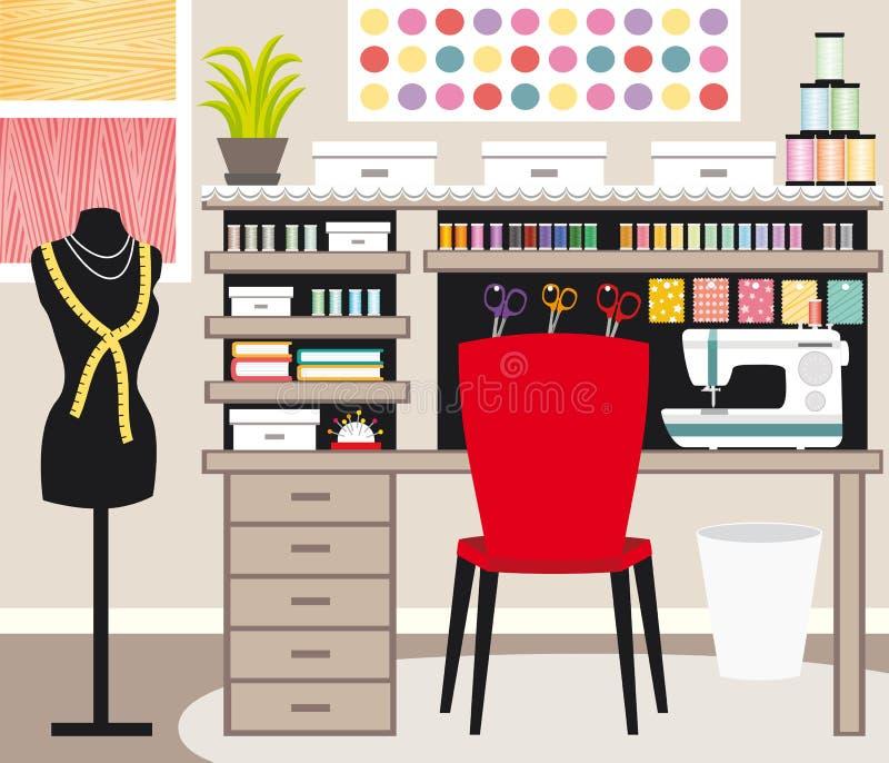 裁缝` s办公室 裁缝工作区 缝合的例证IV 库存例证