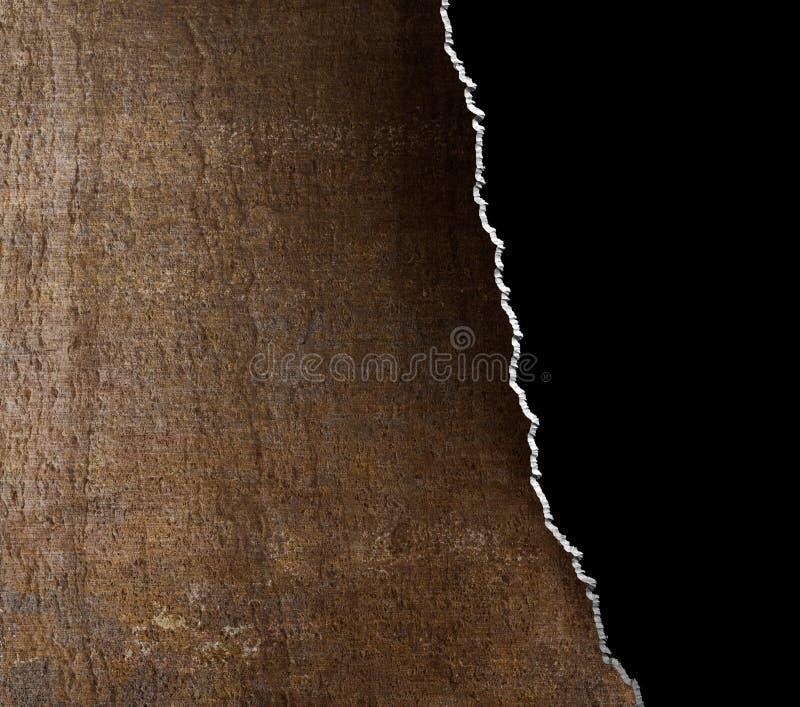裂口难看的东西与被撕毁的边缘的金属背景 库存照片