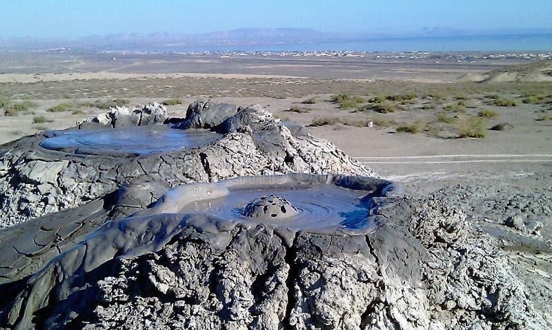 破裂泡影泥火山, Gobustan阿塞拜疆 库存图片
