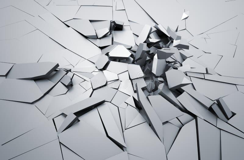 破裂的表面抽象3D翻译  库存例证