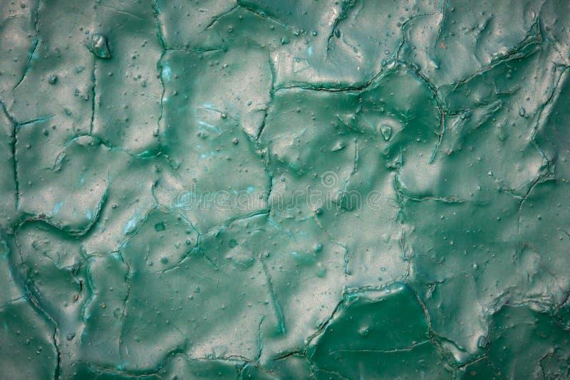 破裂的绿色油漆纹理 免版税库存照片
