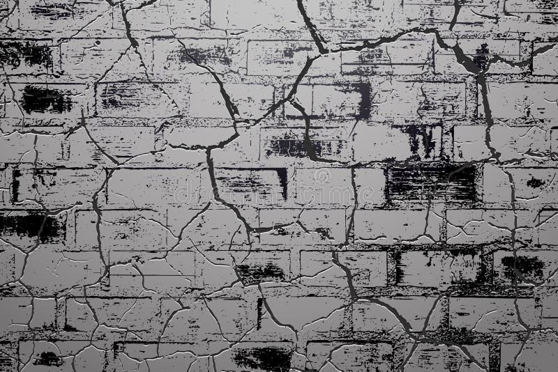 崩裂砖墙背景 皇族释放例证