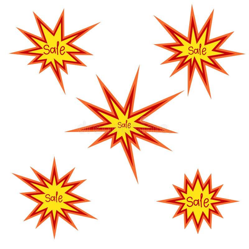 破裂销售标志,破裂星,手拉的文本,传染媒介 库存例证
