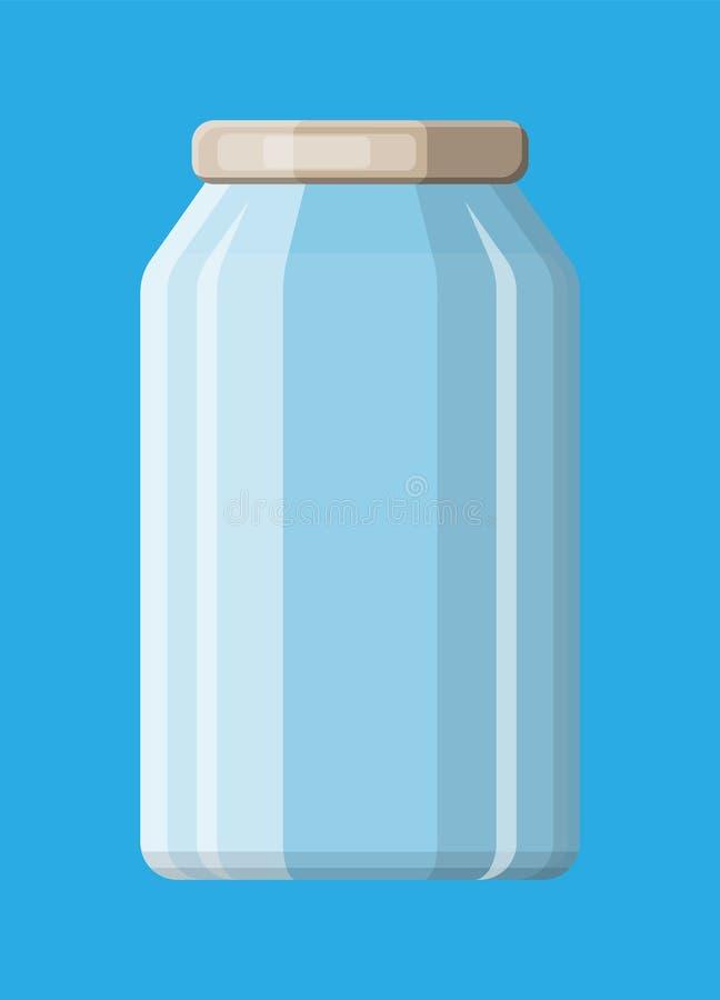 装于罐中和保存的空的玻璃瓶子 皇族释放例证