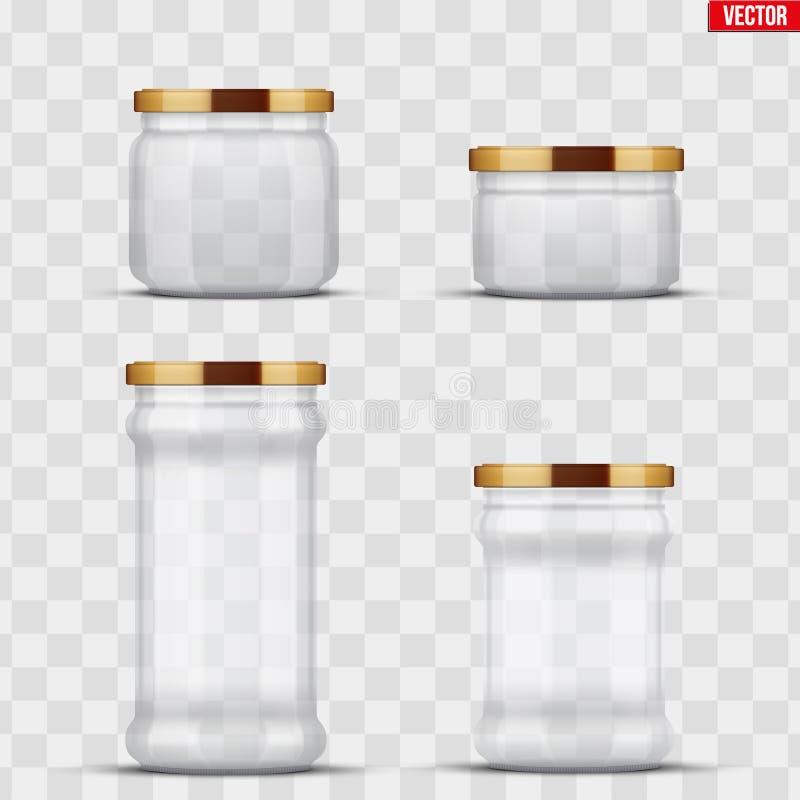 装于罐中和保存的透明玻璃瓶子 皇族释放例证