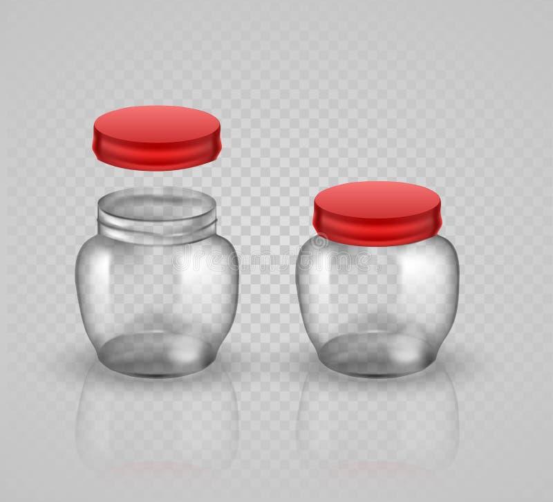 装于罐中和保存的玻璃瓶子 使用盖子,没有盒盖 皇族释放例证