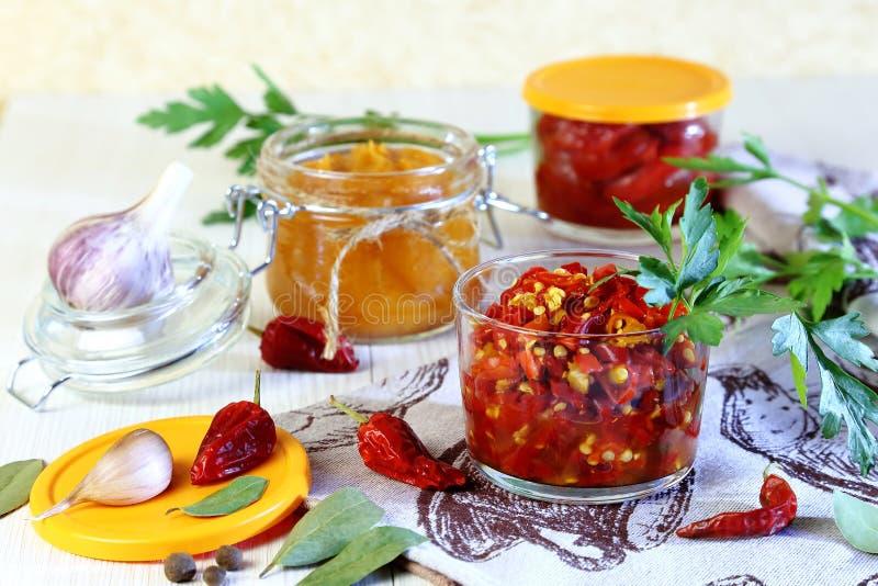 装于罐中的盐土植物家庭菜冬天 胡椒 用卤汁泡的辣椒用在瓶子的香料 库存照片