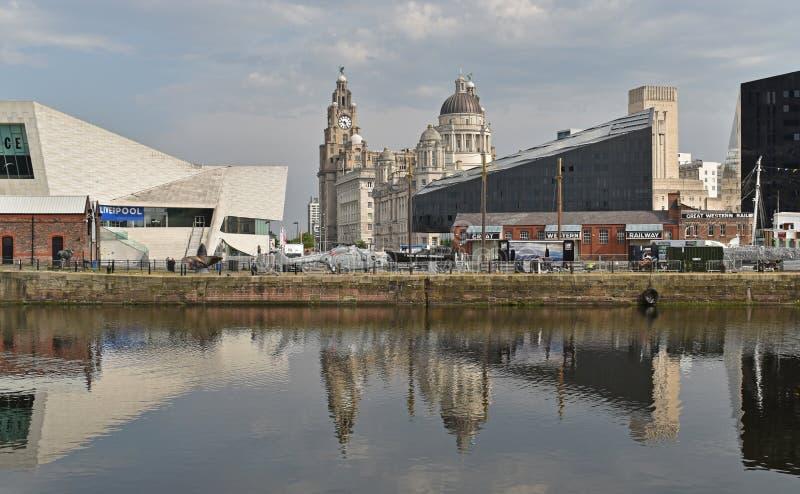 装于罐中的船坞在利物浦 免版税库存图片
