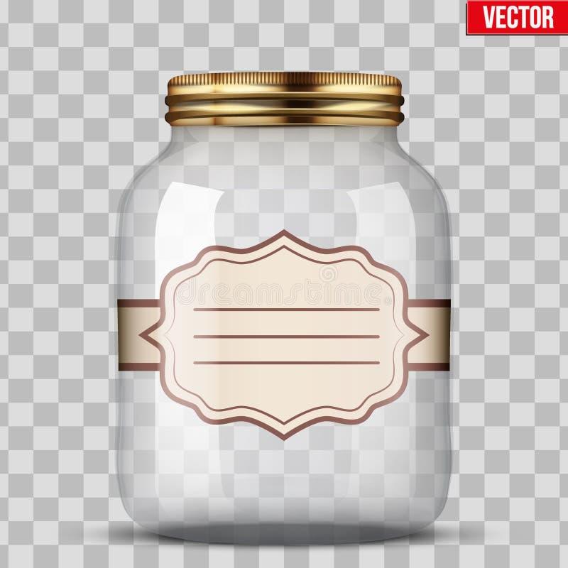 装于罐中的玻璃瓶子与标签 向量例证