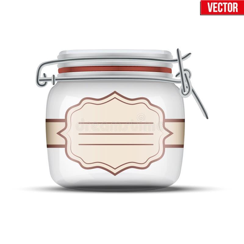 装于罐中的玻璃瓶子 皇族释放例证