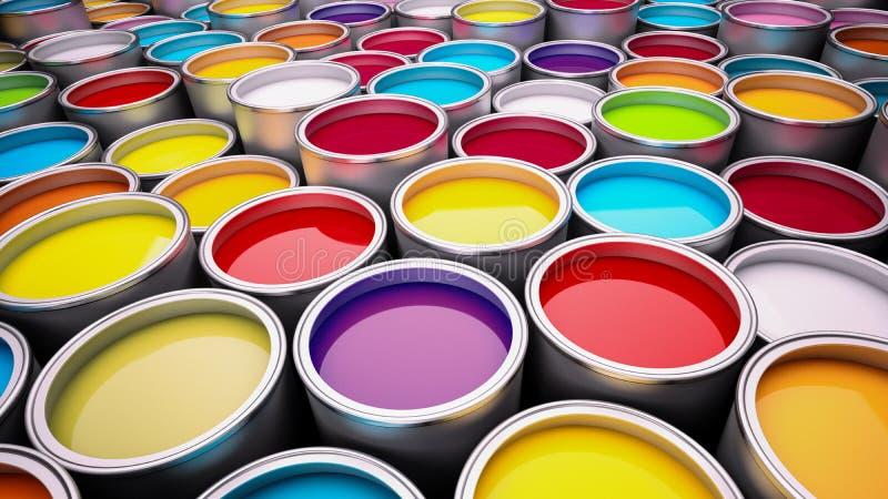 装例证油漆向量于罐中 免版税库存图片