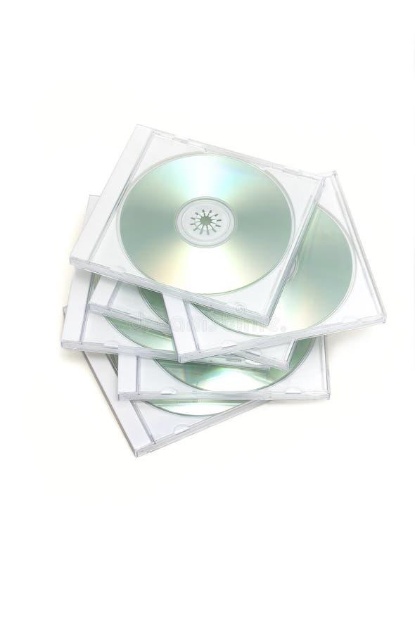 装入CD的珠宝杂乱栈 免版税库存图片