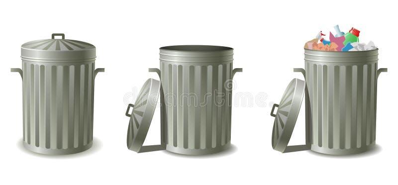 装垃圾于罐中 皇族释放例证