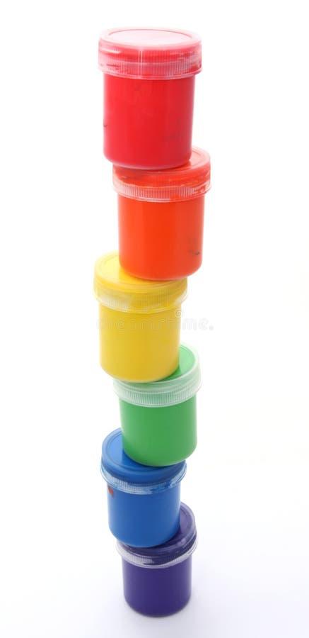 装树胶水彩画颜料油漆于罐中 库存照片