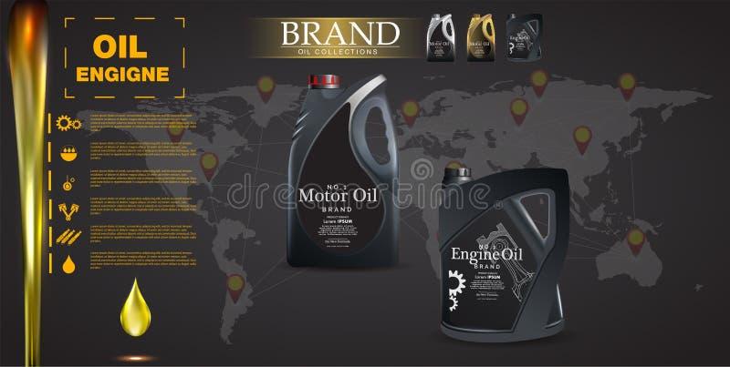 装瓶在背景的机器润滑油机动车活塞,技术例证 现实3D传染媒介图象 罐广告模板wi 库存例证
