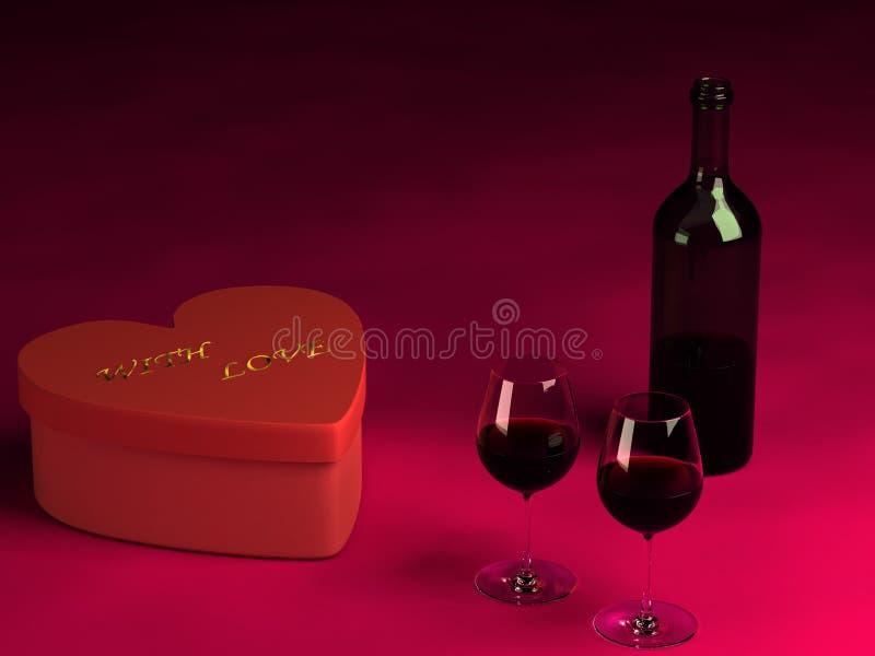 装瓶日玻璃当前s二华伦泰酒 免版税库存图片