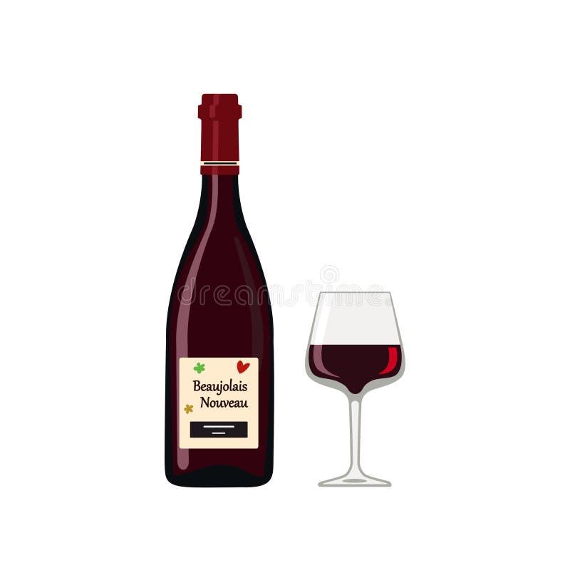 装瓶有在白色背景隔绝的玻璃的博若莱红葡萄酒Nouveau 向量例证