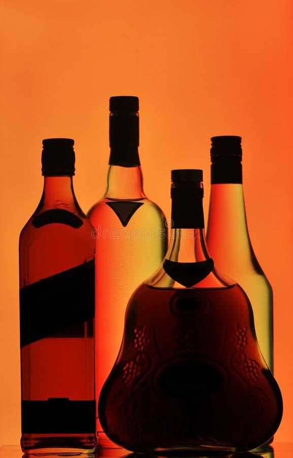 装瓶科涅克白兰地伏特加酒威士忌酒 免版税库存照片