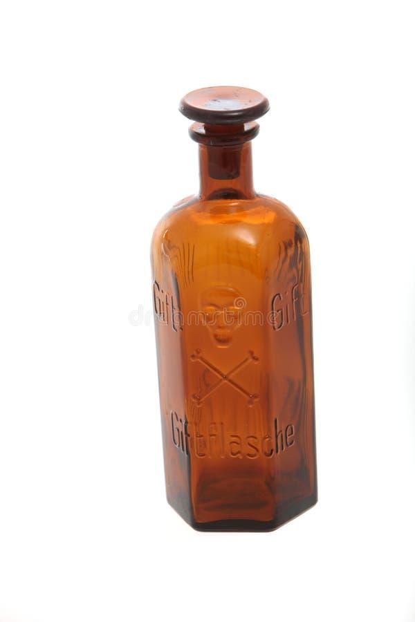 装瓶空的毒物葡萄酒 库存照片