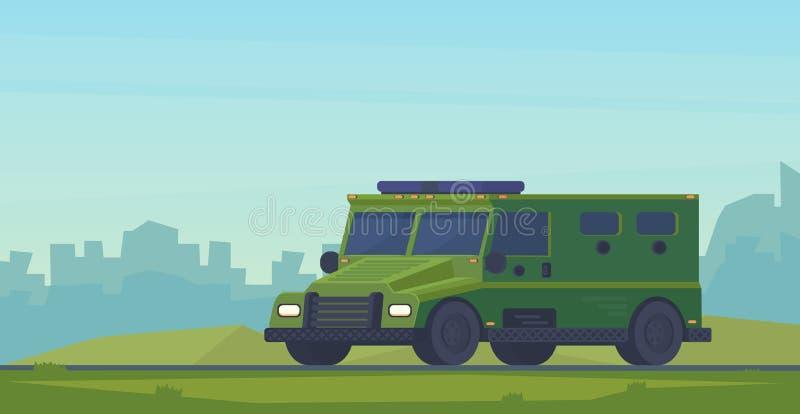 装甲的警察小客车重型卡车 路卡车的拍打汽车特别军事 向量例证