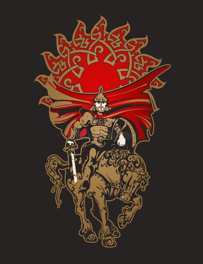 装甲的马战士有剑和盾的 向量例证