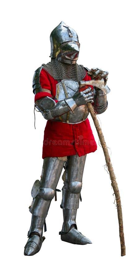 装甲的骑士有战斧的 免版税库存照片
