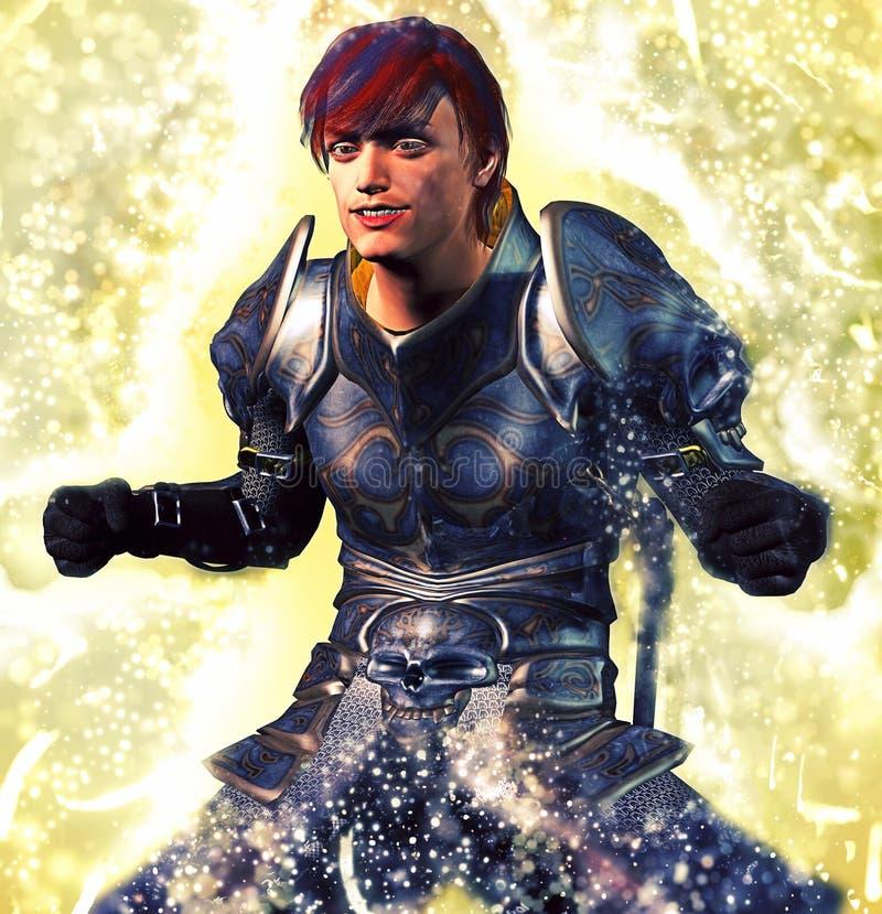 装甲的骑士聚焦的力量 皇族释放例证