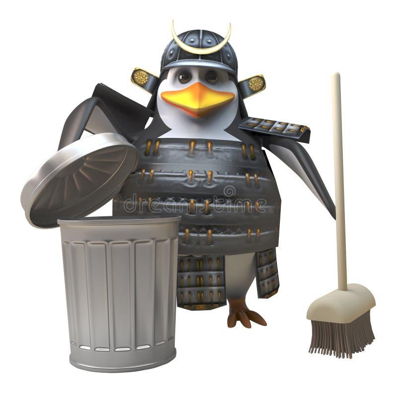 装甲的高尚的企鹅武士战士清扫与笤帚和垃圾容器,3d例证 库存例证