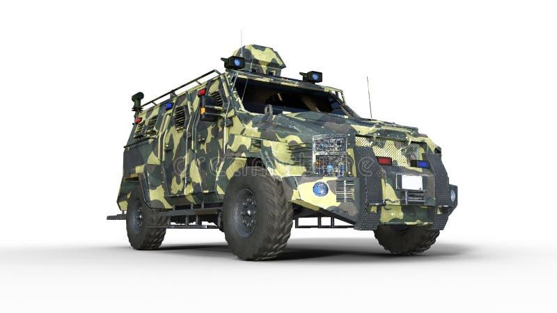装甲的SUV卡车,防弹军车,在白色背景隔绝的camo军用汽车,底视图,3D回报 皇族释放例证