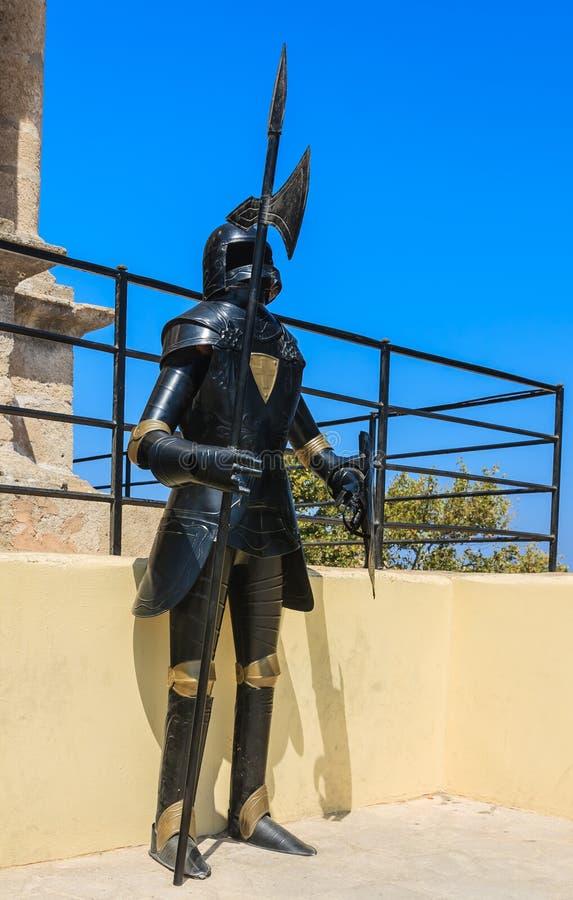 装甲骑士在罗得岛老镇堡垒 罗得斯 希腊 免版税库存照片