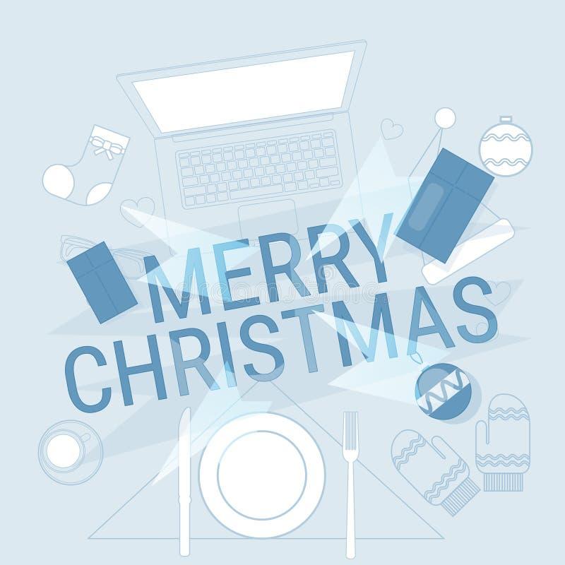 装置电子学小配件新年概念膝上型计算机电话片剂圣诞节礼物装饰 皇族释放例证