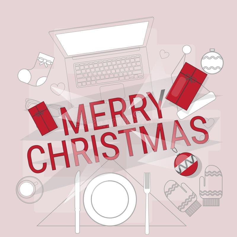 装置电子学小配件新年概念膝上型计算机电话片剂圣诞节礼物装饰 向量例证