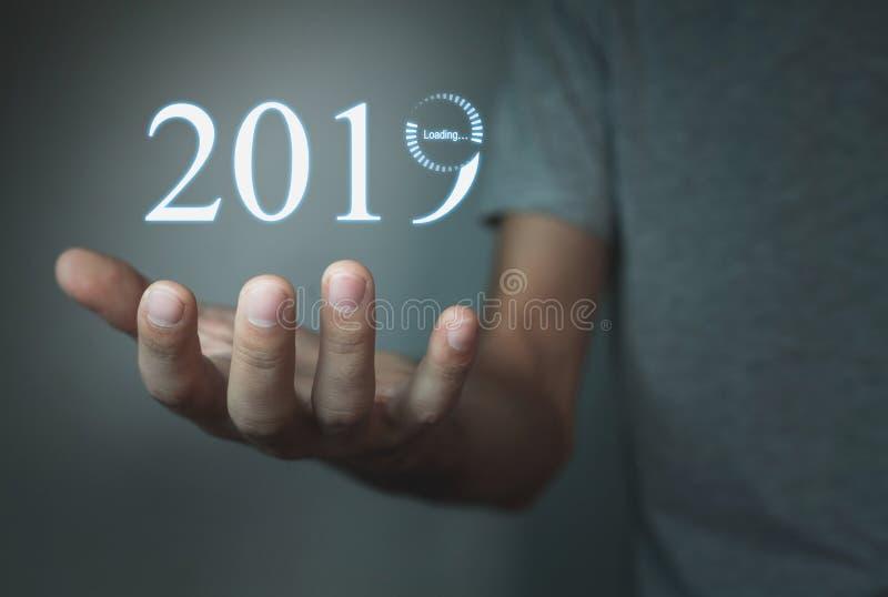 装载一个新年2019年 免版税库存图片