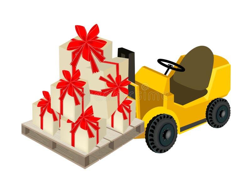 装载堆礼物盒的叉架起货车 向量例证