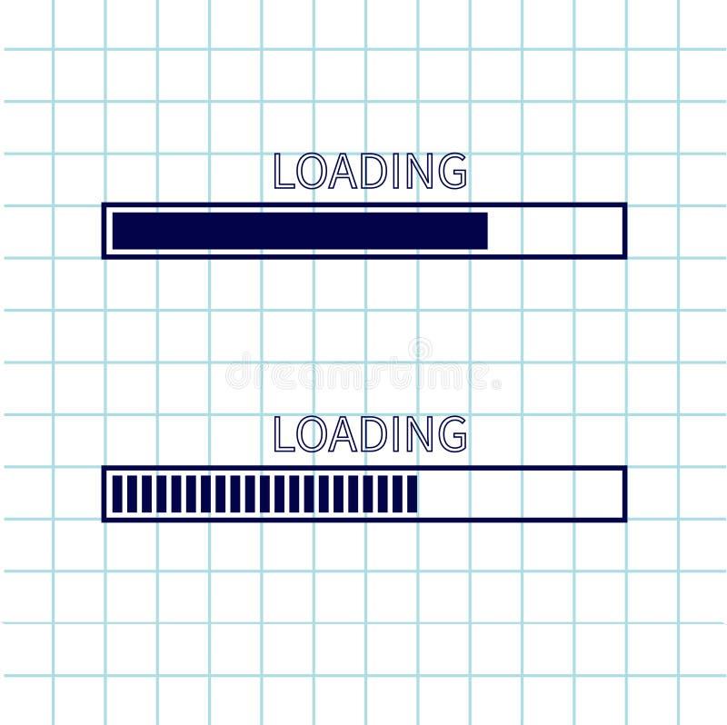 装载的进展状态栏象集合 网络设计app下载定时器 笔记本纸纹理细胞摆正了习字簿w空白纸  向量例证
