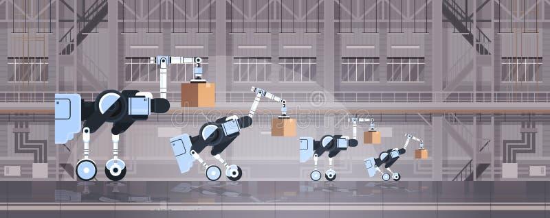 装载纸板箱高科技聪明的工厂仓库内部后勤学自动化技术概念的机器人工作者 向量例证