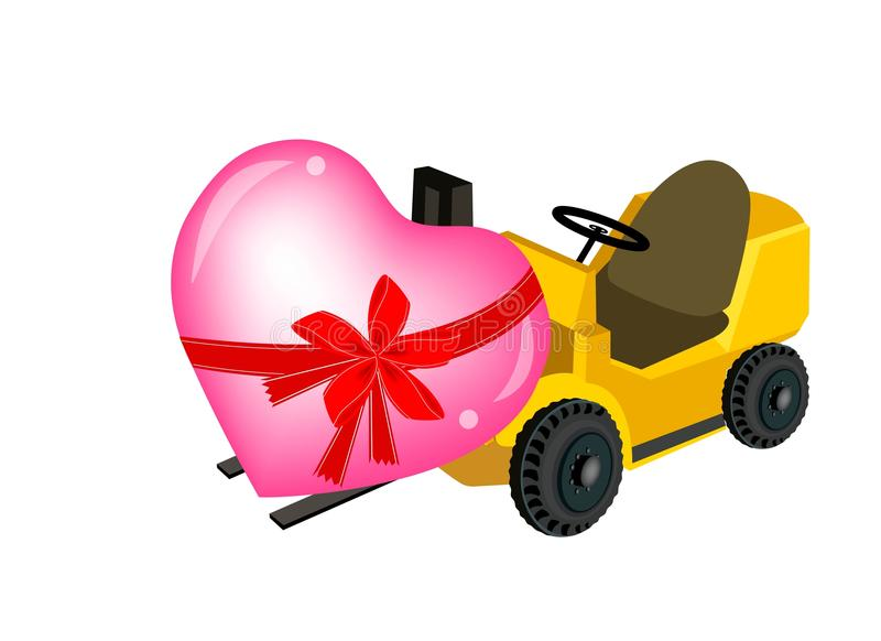 装载美好的心脏的黄色叉架起货车 库存例证