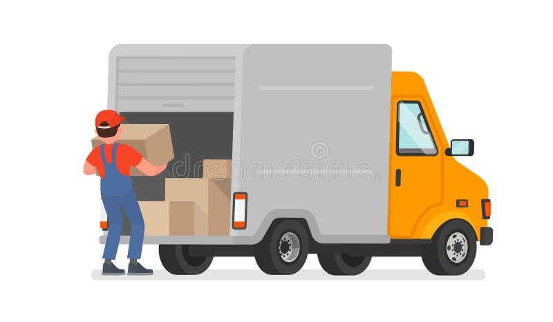 装载者卸载从卡车的物品 背景配件箱发运英俊查出在服务白色工作者 M 向量例证