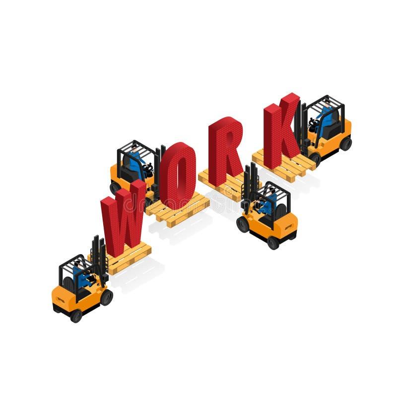 装载者在队,业务模式运作 向量例证