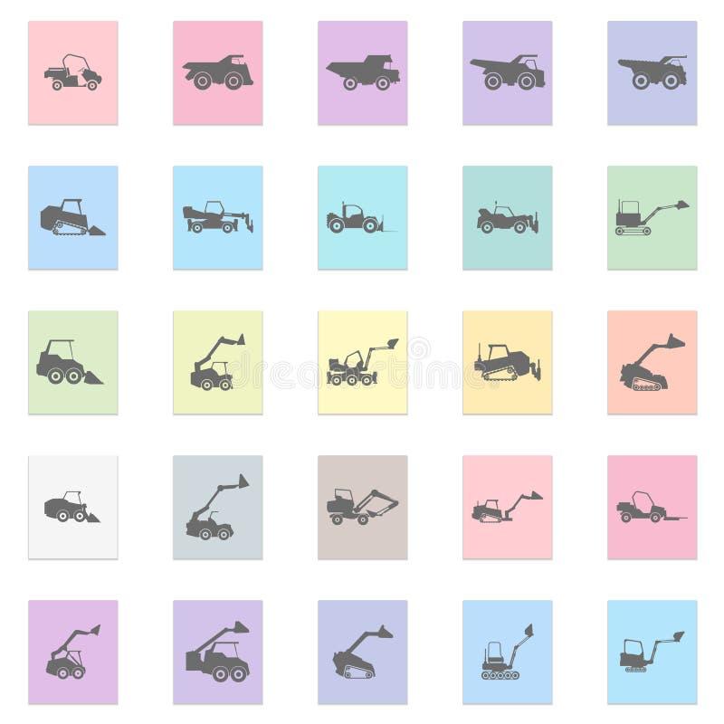 装载者汽车例证 设置在颜色贴纸的传染媒介黑象 库存例证