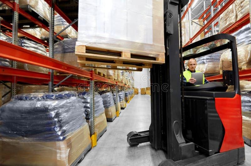 装载者片剂个人计算机和铲车在仓库 免版税图库摄影