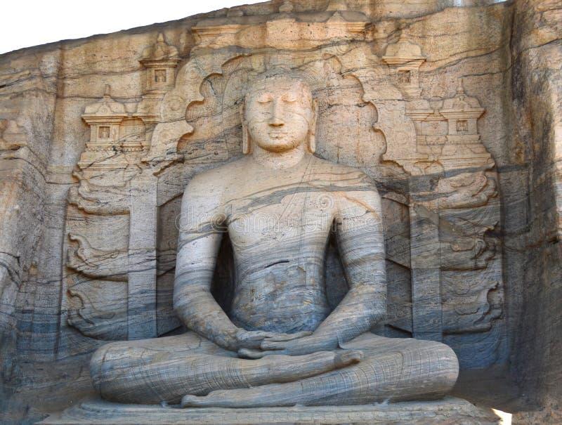 装载菩萨雕象在Galviharaya, Polonnaruwa,斯里兰卡 库存图片