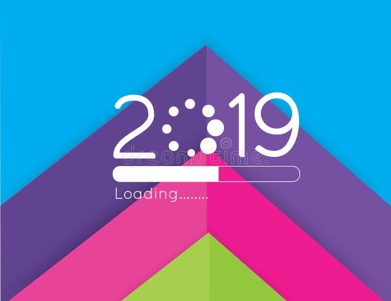 装载2019传染媒介例证的新年快乐用抽象箭头纸削减了五颜六色的背景 皇族释放例证