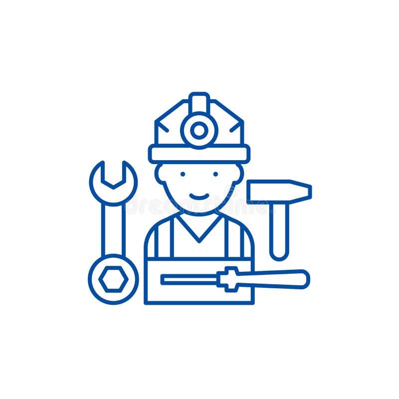 装配工作线象概念 装配工作平的传染媒介标志,标志,概述例证 向量例证